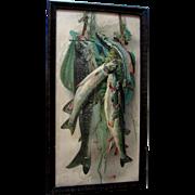 Fish Creel Fly Fishing Yard Long Print Antique