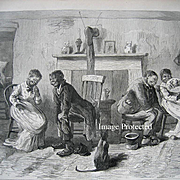 Love in Blackville Wooing of the Twins Negro Lady Courting Print Eytinge Antique c1878