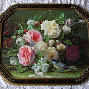 Vintage Roses Print Fragrance in Bloom Jean Baptiste Robie Barbola Frame Rose Bee Bird