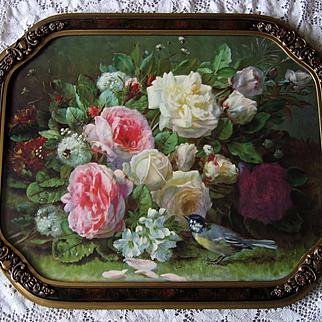 Vintage Roses Print Fragrance in Bloom Jean Baptiste Robie Barbola Frame Rose Bee Bird