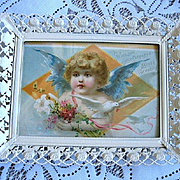 Antique Cupid Print Woolson Spice Angel Fairy Dove
