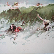 Antique Print A Popular Wave Granville Smith Lady Bathing Sea Ocean