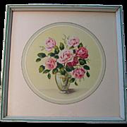 Vintage Pink Roses Print