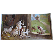 Antique Dog Puppy Print A Disgrace to the Family Half Yard Long Victorian