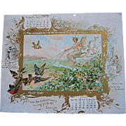 Two Victorian Calendar Panel Print s Fairy Bird Horse Gold Sphinx