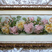 Paul de Longpre Roses Yard Long Print Antique Victorian All Original