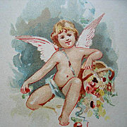 Antique Cupid Print Chromolithograph Art Interchange