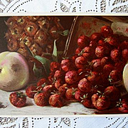 Antique Fruit Print Strawberries Pineapple Chromolithograph Half Yard Long
