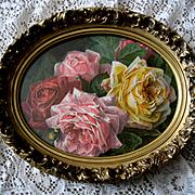 Antique Roses Print Paul de Longpre Victorian Chromolithograph