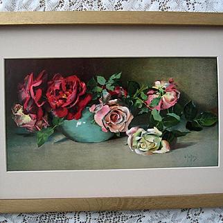 Antique Cabbage Roses Print Virginia Janus