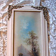 Antique Landscape Painting Barbola Frame Yard Long