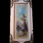 Antique Landscape Painting Barbola Frame Yard Long