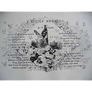c1890s Poem A Bit of Mending Print Butterfly