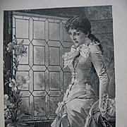 c1897 Lady Print Antique