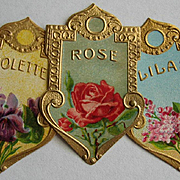 Three Antique Perfume Labels c1890s