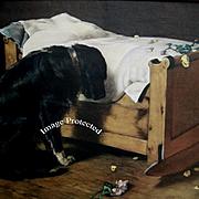 The Lost Playmate Antique Print Deceased Child Black Labrador Dog Roses Cradle