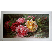 Antique Roses Print Paul de Longpre Chromolithograph Bees Half Yard Long Unframed Proof