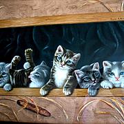 Antique Kittens Cat Print The Prize Pussies Winn