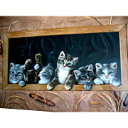 Antique Kittens Cat Print The Prize Pussies Winn