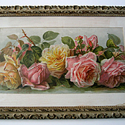 Antique Roses Print Paul de Longpre Just Too Sweet Half Yard Long All Original