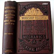c1885 Workshop Receipts Scientific Forumulations Book Victorian