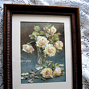 c1900 Bride Roses Print Maude Angell Rose Flower Floral