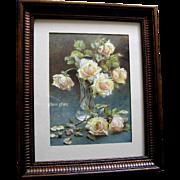 c1900 Bride Roses Print Maude Angell Rose Flower Floral