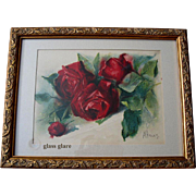 Antique Roses Print Scarlet Cabbage Roses Matilda Brown Chromolithograph Rose Flower Floral Victorian