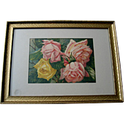 Antique Roses Print Pink Yellow Cabbage Roses Victor Dangon Chromolithograph Rose Flower Floral Victorian