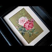 Cabbage Roses Silk Print Paul de Longpre c1890 Victorian Antique Chromolithograph Rose Flower Floral