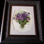 c1906 Violets Print Paul de Longpre Antique