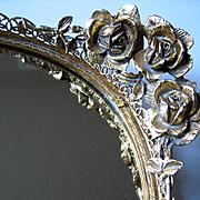 Matson Roses Perfume Dresser Tray Mirror Ormolu Cosmetic Gold Rose Rosebud Filigree