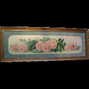 c1903 Yard Long La France Roses Print Paul de Longpre Original Frame Glass