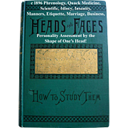 c1896 Phrenology Book Heads and Faces How to Study Them Antique Victorian