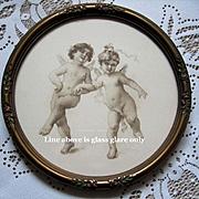 Cupid Print Virgilio Tojetti Barbola Frame Antique