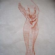 Leg Drawing Original Art Vintage