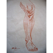 Leg Drawing Original Art Vintage