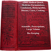 c1909 Quack Medicine Dr Chases Medical Book Abortion Fertility Toilet Health Cures Pharmacy Phrenology Household Cook book Animal Husbandry Home Care