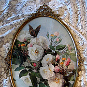 White Roses Butterfly Print Paul de Longpre Antique Frame Convex Glass