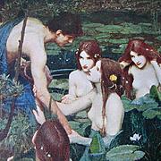 Lady Mermaid Print Waterhouse Antique