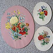Three Vintage Oval Flower Prints