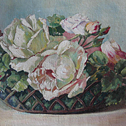 Antique White Roses Oil on Canvas Painting Signed