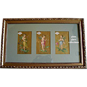 C1870s Three Fairy Lady Demorest Pattern Print s Triptych Half Yard Long Chromolithograph Gold Victorian Trade Card Fairies