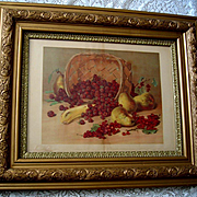 Fruit Print c1890s Raspberries Currants Pears Bananas Ornate Gesso Frame Large