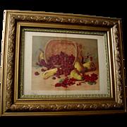 Fruit Print c1890s Raspberries Currants Pears Bananas Ornate Gesso Frame Large