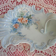 Handpainted Pink Roses Forget Me Nots Porcelain Tray Nappy