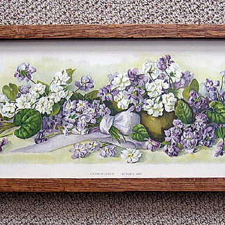 Violets Print Antique Yard Long Mary Hart