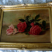 Antique Roses Painting Original Frame