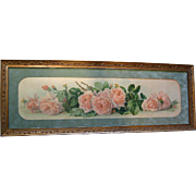 c1903 Antique Yard Long La France Roses Print Paul de Longpre Original Frame Glass
