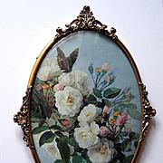 Paul de Longpre Roses Butterfly Vintage Print Antique Convex Glass Frame